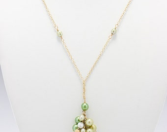 Green Pearl Necklace, Lime Green Necklace, Green Bridesmaid Jewelry, Pearl Cluster Necklace, Gold Filled
