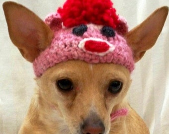 Dog Sock Monkey hat in Pink, hand crocheted, Small or Xsmall