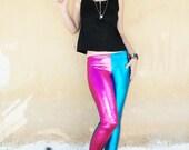 Agoraphobix Glamorama bubble gum pink & turquoise harley quinn wet look leggings