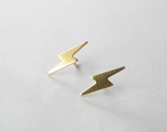 Lightning Bolt Earrings,Gold Brass Lightning Earring Studs,Harry Potter Jewelry,Unisex Earrings,Sterling Silver Hypoallergenic Studs (E194)