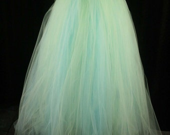 Spring wedding tulle skirt Streamer tutu floor length formal aqua mint adult bridal costume prom dance -You Choose Size- Sisters of the Moon