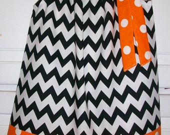Girls Dress, Pillowcase Dress, Chevron Dress, Black and Orange,  OSU Dress, Game Day Dress, Baby dress, Toddler dress, Halloween Dress