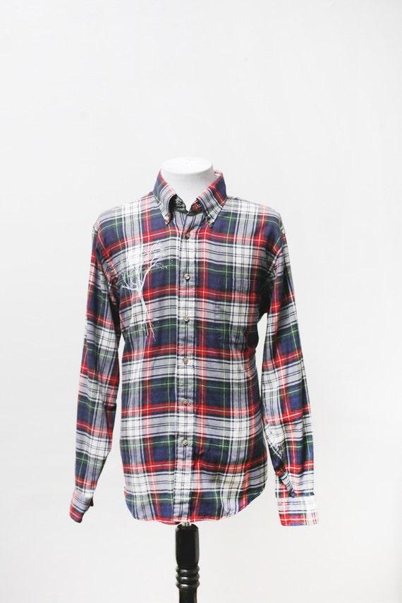 men 39 s flannel shirt upcycled vintage plaid shirt