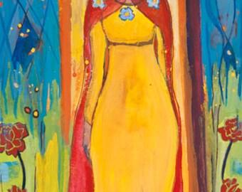 Small Print Goddess Art -Creiddylad, Celtic Goddess of Flowers and Love