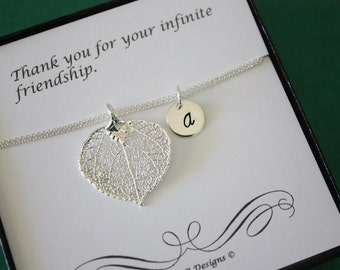 Personalized Leaf Anklet,  Leaf Jewelry, Best Friend Gift, Thank You Card, Monogram, Sterling Silver Anklet, Aspen Leaf, Monogram Anklet
