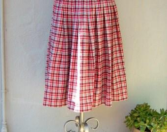 Vintage red tartan plaid skirt / pleated kilt side fringe / wool calf length wrap skirt / sm-med