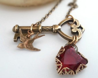 Key to my Heart necklace,  key necklace with bird and red heart pendant, romantic jewelry, bird necklace, Valentine gift