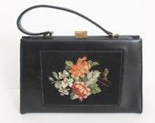 Vintage 1950s TAPESTRY Handbag / 50s Needlepoint Purse / Kelly Black Leather Bag