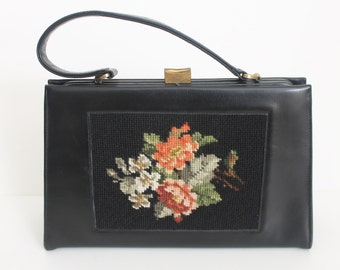 Vintage 1950s TAPESTRY Handbag / 50s Needlepoint Purse / Kelly Black Leather Bag