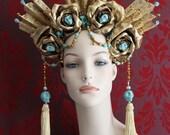 Ezili Dantor - Vodou Headdress of Gold Roses, Turquoise Skulls, Gold Czech Glass Crystals & Lace - To order