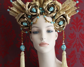 Ezili Dantor - Vodou Headdress of Gold Roses, Turquoise Skulls, Gold Czech Glass Crystals & Lace - To order