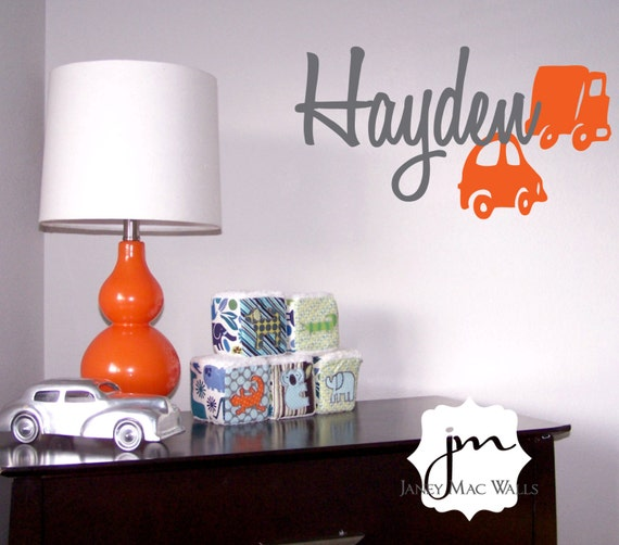 Car and Truck with Name Wall Decal Set - Transportation Vinyl Wall Art Sticker - Custom Name with Vehicles Decal - CM140B