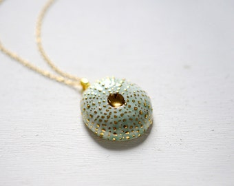 Uni Necklace - Turquoise Sea Urchin 22k Gold - Porcelain Jewelry - Porcelain Necklace - white gold