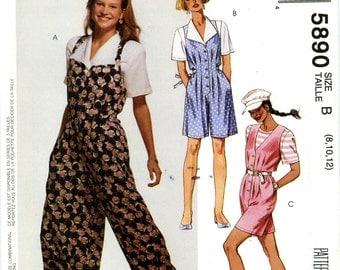 McCall's 5890 Romper Split Skirt Jumper Blouse Top Size 8 10 12 Uncut Vintage Sewing Pattern 1992