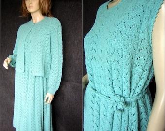 Vintage 50s 60s Hand Knit 5 pc Suit - Dress Cardigan Slip Belt Head Band - Robins Egg Blue Aqua - Large