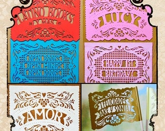 Save 10% - AMOR FILETEADO - Bundle personalized papel picado banners and flags