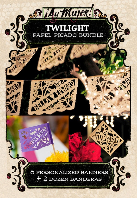 Save 10% bundle - Personalized papel picado banners and flags - TWILIGHT custom color