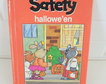 Vintage 80's Halloween Book, Kids Safety Tips for Trick or Treating, Children's Book, Safety First