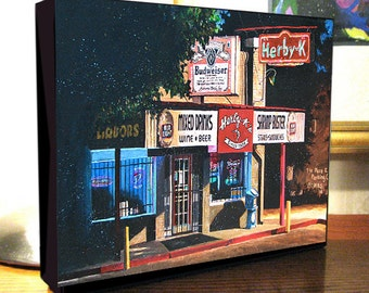 "Seafood Cafe Bar and Grill Restuarant Art ""Herby K's Night Scene"" 8x10x1.5"" and 11x14x1.5"" Gallery Wrap Canvas Prints"