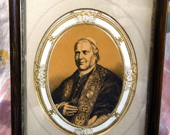 Pope Pius IX / Vintage Religious Art Print/  Framed Catholic Art