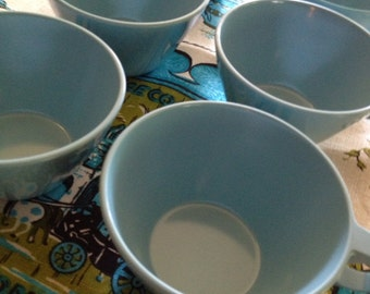 Set of Six Vintage Turquoise Melamine Cups