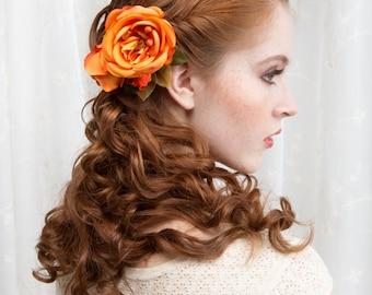 bridal hair accessory, orange cabbage rose, floral hair clip, wedding hairpiece -ELISA- silk flower headpiece, bridesmaid hair accessories