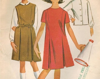 1960s McCall's 6896 Vintage Sewing Pattern Girl's Dress or Jumper and Blouse Size 14