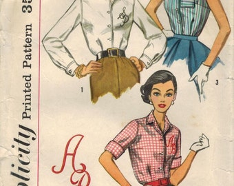 1950s Simplicity 2195 Vintage Sewing Pattern Misses Blouses with Monogram Bust 34