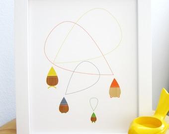 Tear Drops Art Print, Mid Century Modern, Abstract Art, Whimsical