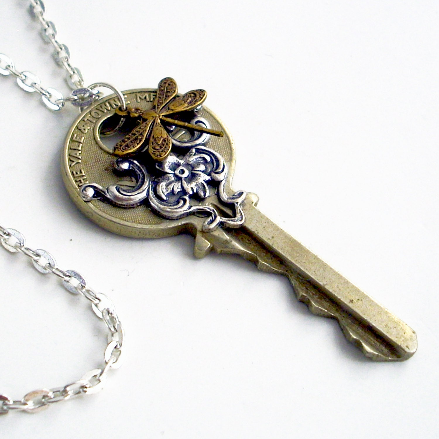 recycled dragonfly key necklace dragonfly by trashandtrinkets