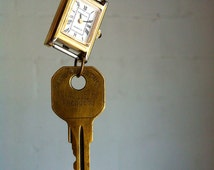 SALE >>> Upcycled Watch Necklace. Recycled Key. Antique Brass Chain. Recycled Jewelry. Found Objects. Vintage Charm.