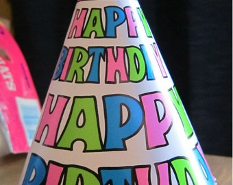 Vintage Birthday Hats, Set of 14 1980s Neon Dayglo Paper Happy Birthday Party Hats, Fun Vintage Party Hats