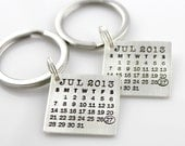 HIS and HERS Mark Your Calendar Keychains - sterling silver - calendar keychain - save the date