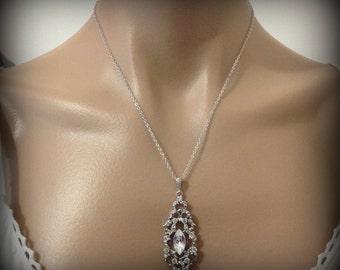Crystal Bridal Necklace, Art Deco Necklace, Swarovski Wedding Jewelry, Gatsby Necklace, Victorian Wedding Necklace, Gift for Her, VICTORIA