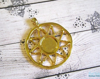 Round Gold Sun Pendant blank for 14 mm cabochon , boho  , Gold plated , lead free