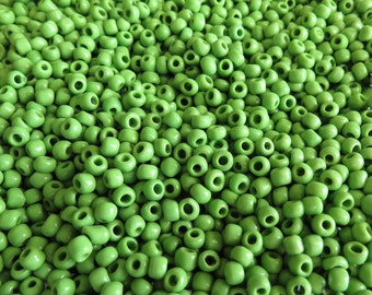 5/0 (2mm Hole) Opaque Light Green Vintage Italian Murano Glass Seed Beads 20 Grams (CS2)