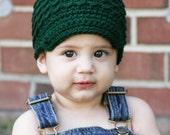 Little Boys Hats, Crochet Green Newsboy Hat, Infant Boy Beanie, Soft-Brimmed Visor, MADE TO ORDER