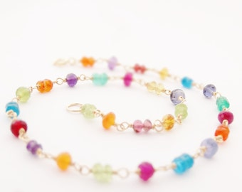 Gold Anklet Beaded Anklet Multi Gemstone Ankle Bracelet rainbow gemstone jewelry delicate anklet summer beach body jewelry