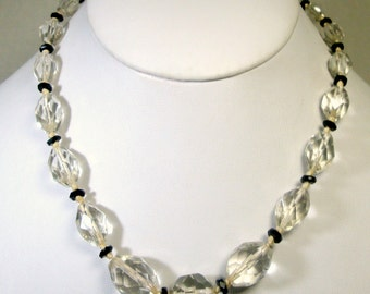SWEET Antique Black and Clear Glass Bead Necklace, PURITY, Classic  Knotted, Faceted and Graduated , 1920s