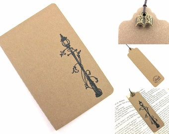 Narnia Lamp-post - Hand Stamped Small Moleskine Notebook and Bookmark with Charm