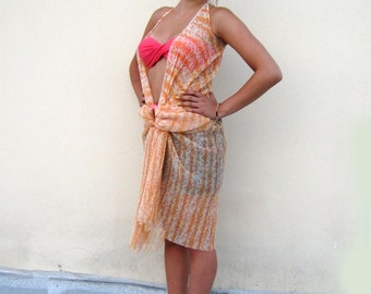 SALES! Under 50 usd/ Orange BEACH DRESS, Floral Pareo, Airy Sarong/ Womens swimwear/ Resort chic top, Cover up