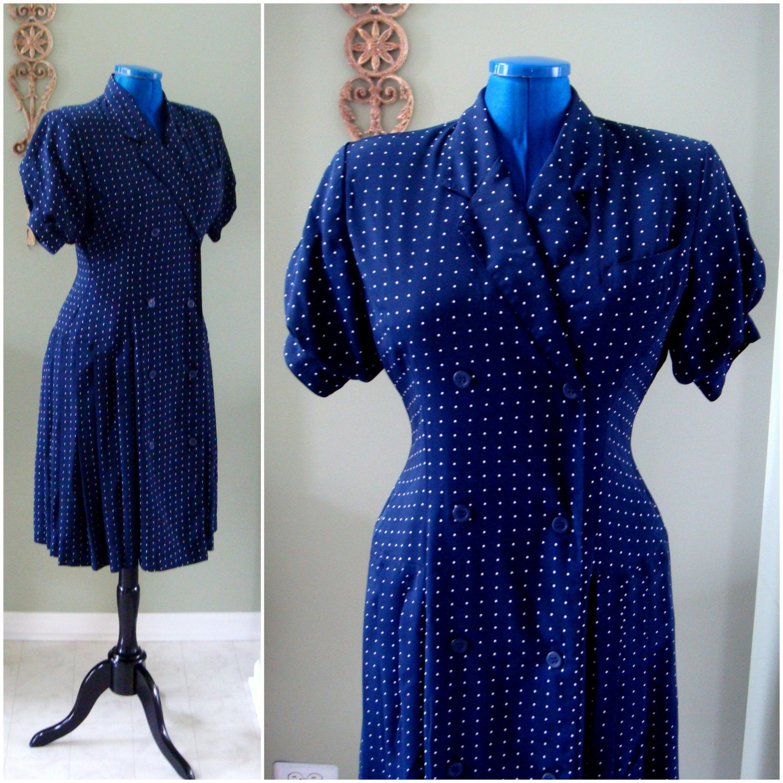 Vintage Navy Blue Dress White Polka Dots Midi by ...