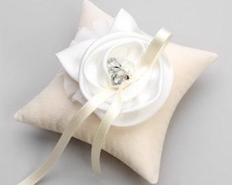 Ivory wedding ring pillow, white flower ring pillow, bridal pillow, wedding decor - Shannon