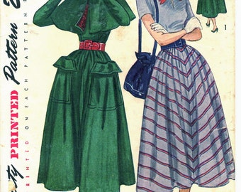 Vintage 40s Simplicity 2951 UNCUT Misses Dirndl Skirt Dress and Cape Sewing Pattern Size 12 Bust 30