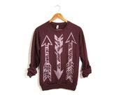 Tri Arrows Sweatshirt - Boyfriend Fit Crew Neck Long Sleeve Fleece Raglan Sweater in Burgundy and White - Women's Size S-3XL