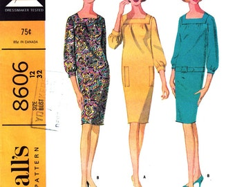 Womens Dress Pattern McCalls 8606 Square Neck Dress Gathers Shift Dress | Womens Sewing Pattern Size 12 Vintage 60s Pattern