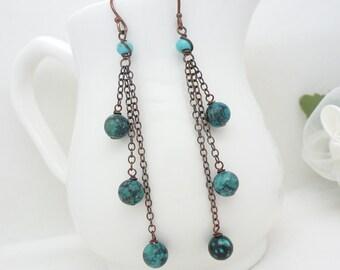 Long turquoise earrings in copper, dark teal blue turquiose dangle chain earrings, genuine copper jewelry