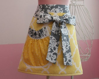Towel Waist Apron -  Garden Trellis - Yellow and Grey