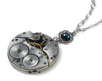 Steampunk 1931 Waltham Pocket Watch Movement Necklace