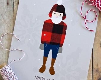 Hipster Santa Christmas Card